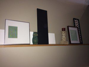 framed scrap book paper and cheveron fabric