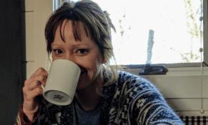 Mom drinking coffee