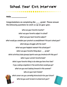 End of School Year Interview Questions