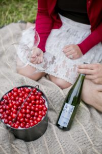 Bucket of cherries on a picnic blanket with a bottle of wine and two wine glasses
